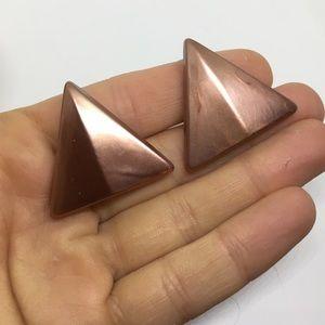 Retro stud earrings copper triangle statement